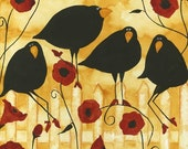 Poppy Flowers Crow Blackbird Raven Debi Hubbs Folk Art Whimsical Garden