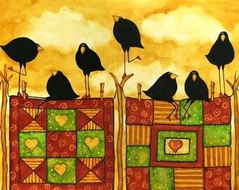 Quilt Crow Blackbird Raven Whimsical Debi Hubbs Folk Art Quilting Quilt
