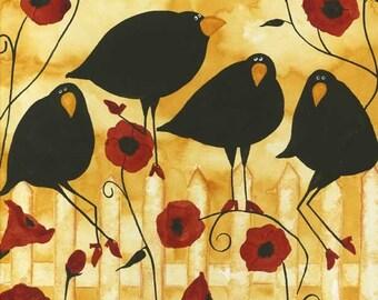 Poppy Flowers Crow Blackbird Raven Debi Hubbs Folk Art Whimsical Garden