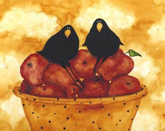 Crow Blackbird Raven Apple Folk Art Debi Hubbs Kitchen Birds Love