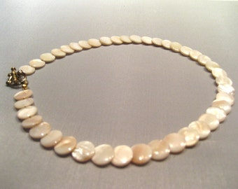 Handmade Mother-of-Pearl Lentil Bead Necklace - was 24.95