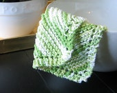 Hand Knit Cotton Dishcloth - Green and White