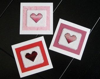 Mini Heart Cards - Cross Stitch