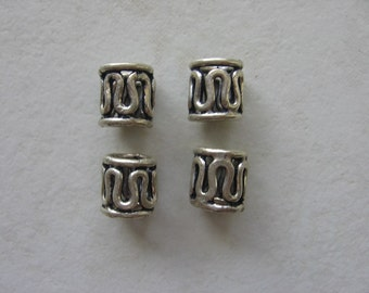 Sterling silver barrel style beads