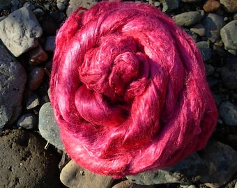 Hand Dyed Mulberry Silk Top Cranberry Red 4 Ounces