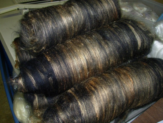 Wool  Hand Dyed Silk Black Gold Half Batt