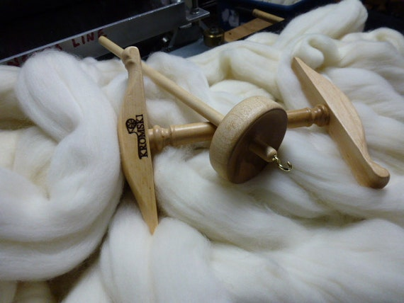 Top Whorl Drop Spindle with Mini Niddy Noddy One Pound Merino and Instructions Great Gift