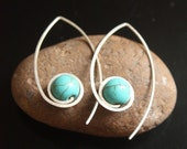 Silver Turquoise Lotus Earrings