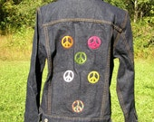 Embroidered PEACE Signs on Dark Denim Jean Jacket
