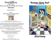 Bunnies Gone Bad--The 7 Deadly Sins Notecard Set- Package of 7