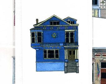 Blue House On Scott Street, San Francisco - Notecard