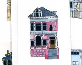 Pink House On Scott Street, San Francisco - Notecard