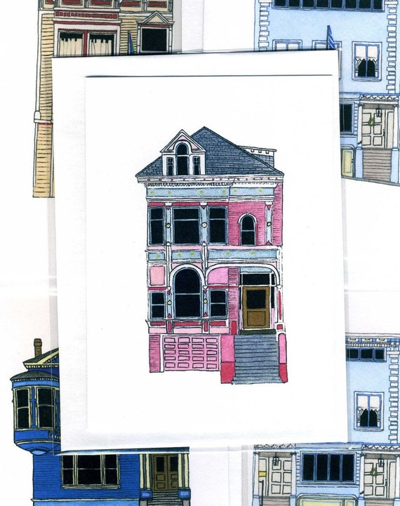 Pink House On Scott Street, San Francisco - Notecard