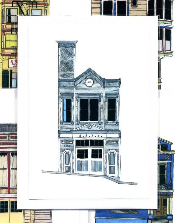 Fire House, San Francisco - Notecard