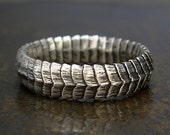 Size 8 Snake Ring - Serpent Scales Sterling Silver Band - Unisex or Mens Ring