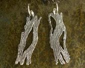Driftwood Earrings - Tree Bark Earrings - Sterling Silver