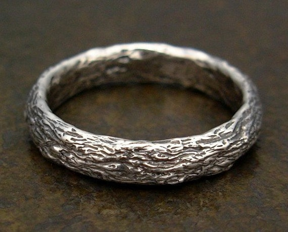 Tree Bark Ring - Sterling Silver Nature Band - Size 2, 2.5, Size 3, 3.5, Size 4, 4.5, Size 5, 5.5, Size 6, 6.5, Size 7, 7.5, Size 8, 8.5