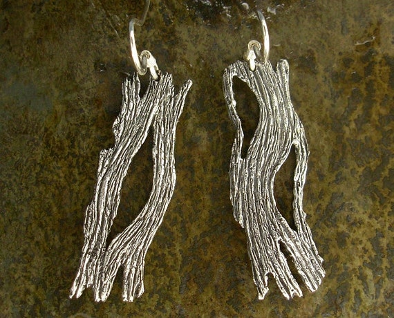 Driftwood Earrings - Tree Bark Earrings - Sterling Silver