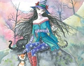 Witch Tabby Cats Autumn Fine Art Print by Molly Harrison 'Out of the Ordinary' 9 x 12 Giclee
