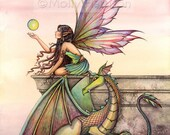 Fairy Dragon Original Fine Art Watercolor Giclee Print by Molly Harrison 'Dragon's Orbs' 5 x 7 - Fairies, Dragons, Illustration