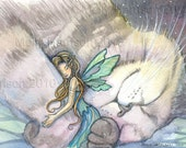 Fairy and Cat Watercolor Fine Art Print by Molly Harrison 5 x 7  'Embrace'
