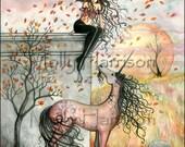 Enchanted Autumn - Fairy Unicorn Fine Art Giclee Print 11 x 17 - Fairies - Unicorns - Watercolor Artwork - Molly Harrison Fantasy Art