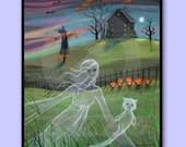Ghost Lady and Cat Halloween Fine Art Print by Molly Harrison