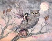 Friendship - Original Fairy and Owl Fine Art Giclee PRINT by Molly Harrison 5 x 7