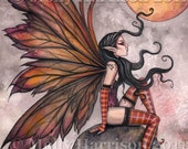 Yellow Moon of Autumn - Fairy Fantasy Fine Art Watercolor Giclee Print 9 x 12  by Molly Harrison