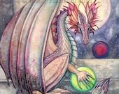 Dragon's Perch - Fine Art Archival Giclee Print by 12 x 16 - Watercolor Illustration, Dragons, Beautiful Dragon, Artwork