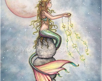 Star Filled Sky 12 x 16 Mermaid Fantasy Fine Art Giclee Print by Molly Harrison