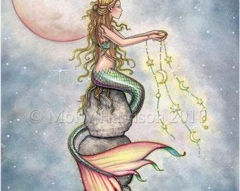 Mermaid Fantasy Art Print by Molly Harrison 'Starfilled Sky'