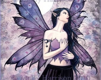 Fairy Fine Art Fantasy Print by Molly Harrison 12 x 16 'Spell of Night'