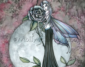 Fairy Fine Art Fantasy Print by Molly Harrison 12 x 16  'Midnight Rose' - Roses, Fairies, Faery, Illustration, Watercolor