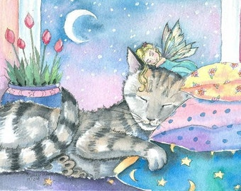 Fairy and Cat Fine Art Print by Molly Harrison 9 x 12  'Timmy's Fairy'