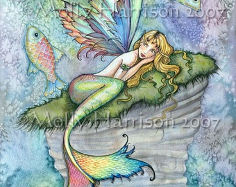 Mermaid Fairy Fine Art Print 5 x 7  'Leaping Carp' Fantasy Watercolor by Molly Harrison