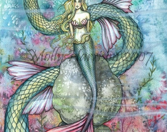 Mermaid Fairy Fine Art Print 9 x 12 'The Serpent's Reef' Fantasy Watercolor by Molly Harrison - Illustration, Mermaids, Artwork