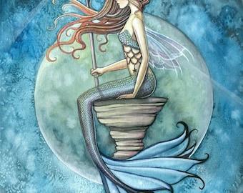 Jade Moon - Mermaid Fantasy Fine Art Giclee Print 9 x 12 - Fantasy Illustration by Molly Harison