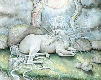 Unicorn Horse Fantasy Fine Art Print by Molly Harrison 'Place of Peace' 5 x 7 Giclee
