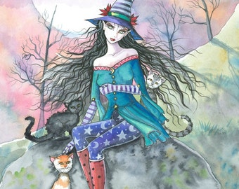 Witch Tabby Cats Autumn Fine Art Print by Molly Harrison 'Out of the Ordinary' 5 x 7 Giclee