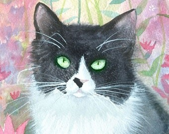 Tuxedo Cat Fantasy Fine Art Print by Molly Harrison 'Cookie' 9 x 12 Giclee