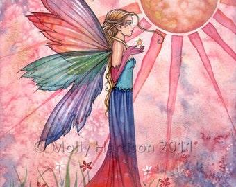 Fairy Fantasy Fine Art Watercolor Giclee Print 9 x 12  by Molly Harrison 'Sunshine and Rainbow'
