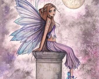 Low Hanging Moon Fairy Fantasy Original Fine Art Giclee Print by Molly Harrison - 9 x 12 - Fairies, Illustration, Purple Fairy, Faery