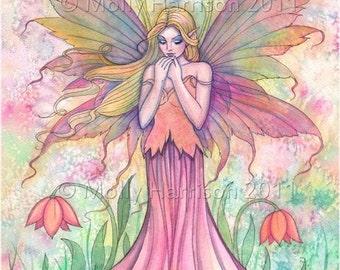 Wildflower Fairy Fantasy Original Fine Art Giclee Print by Molly Harrison 5 x 7 - Fairies - Watercolor Illustration