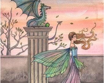 The High Courtyard Fairy and Dragon Original Fine Art Giclee Print by Molly Harrison