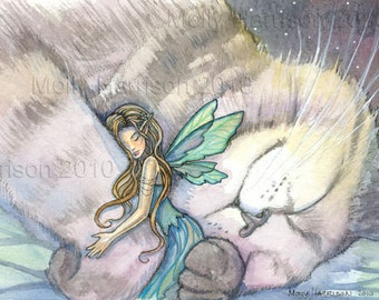 Embrace - Watercolor Art - Fairy and Cat - Fine Art Giclee Print by Molly Harrison Fantasy Art - Fairies Faery Artwork 8 x 10