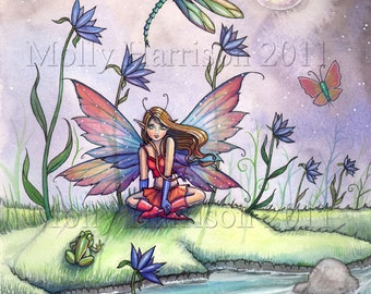 Magic At Dusk - Original Fairy Art Print 9 x 12 Fairy with Frog and Dragonfly - Fantasy Illustration by Molly Harrison