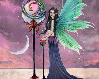 A vivid Dream Dragon Fairy and Dragon Fine Art Giclee Print by Molly Harrison 9 x 12