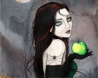 Gothic Witch Fine Art Print 'The Widow' Fantasy Art by Molly Harrison 9 x 12