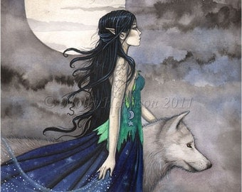 "Witch with Wolf Gothic Fantasy Fine Art Print by Molly Harrison ""Night of the Wolf"" 12 x 16"